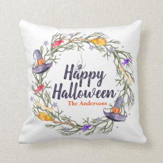 Cojín Decorativo La guirnalda del feliz Halloween personalizó la