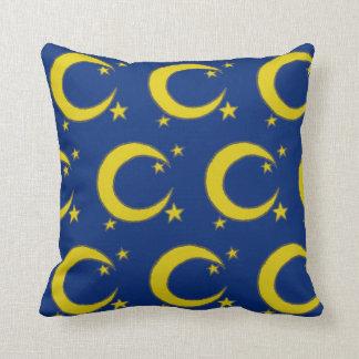 Cojín Decorativo La luna azul del amarillo del cielo nocturno