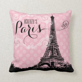 Cojín Decorativo La torre Eiffel elegante de París añade nombre y