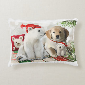 Cojín Decorativo Labrador de oro y el oso polar