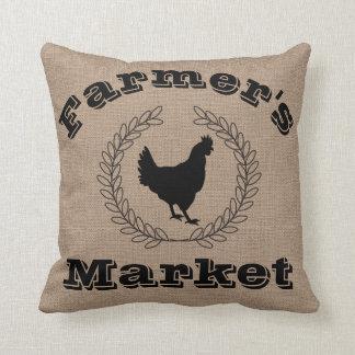 Cojín Decorativo Laureles y gallina del negro del mercado del