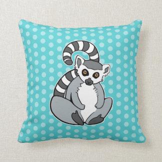 Cojín Decorativo Lemur Anillo-Atado sentada linda en lunares