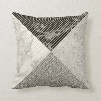 Cojín Decorativo Línea gris raya de Carrara del brillo negro de