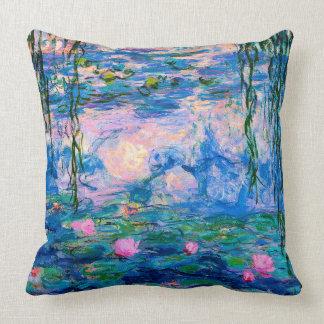 Cojín Decorativo Lirios de agua de Monet con reflexiones de la