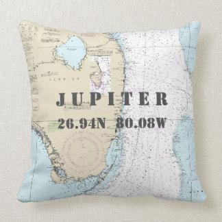 Cojín Decorativo Longitud náutica Júpiter, la Florida de la latitud