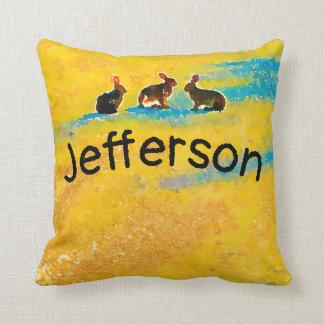Cojín Decorativo Los conejos de conejito en amarillo añaden nombre