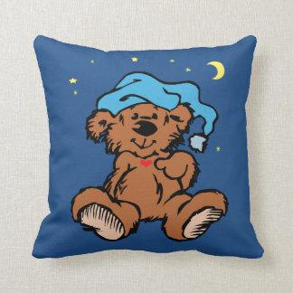 Cojín Decorativo Luna y estrellas soñolientas del oso del tiempo