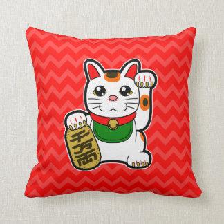 Cojín Decorativo Maneki Neko: Reversible afortunado japonés del