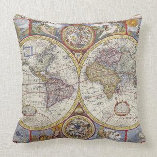 Cojín Decorativo Mapa de Viejo Mundo hermoso de la antigüedad y del