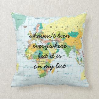 Cojín Decorativo Mapa del mundo - no he estado por todas partes…