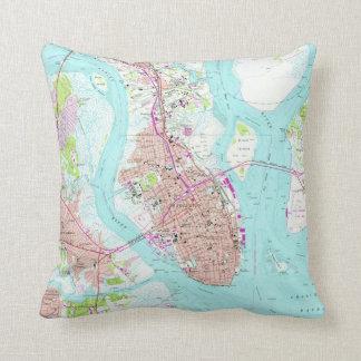 Cojín Decorativo Mapa del vintage de Charleston Carolina del Sur
