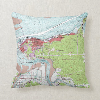 Cojín Decorativo Mapa topográfico de Astoria Oregon del vintage