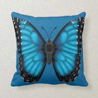 Cojín Decorativo Mariposa azul de Morpho dorsal y ventral