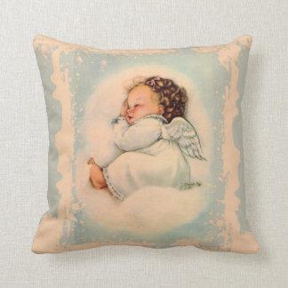 Cojín Decorativo Melocotón del azul del ángel de guarda del bebé el
