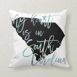 Cojín Decorativo Mi corazón está en el SC del estado de Carolina