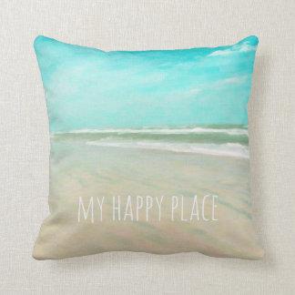 Cojín Decorativo Mi escena feliz de la playa del cielo de la