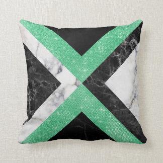 Cojín Decorativo Mínimos del mármol del negro de la verde menta del