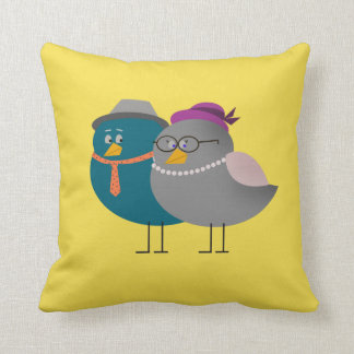 Cojín Decorativo Moda de moda amarilla linda retra de los pájaros