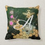 Cojín Decorativo Moda francesa, victorian, abeja, floral, efecto