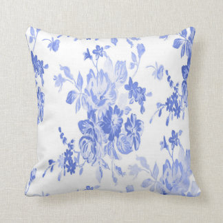 Cojín Decorativo Modelo de flores azules y blancas