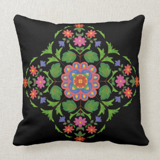 Cojín Decorativo Modelo floral brillantemente coloreado de Rangoli