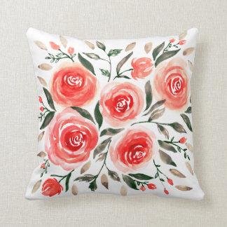 Cojín Decorativo Modelo floral rosado de los rosas de la acuarela