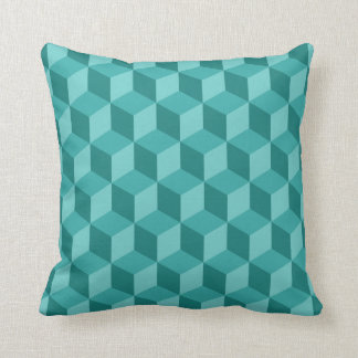 Cojín Decorativo modelo geométrico azul del cubo 3D