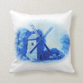 Cojín Decorativo Molino de viento, modelo azul de Delft, impresión
