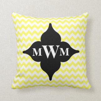 Cojín Decorativo Monograma amarillo y negro del galón