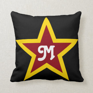 Cojín Decorativo Monograma de encargo simple de la estrella roja y