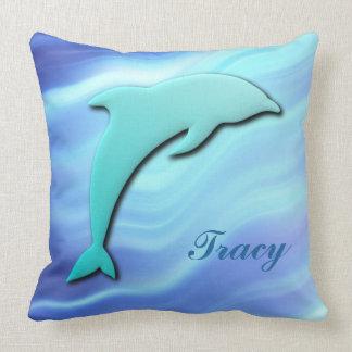 Cojín Decorativo Monograma de salto adaptable del efecto del delfín