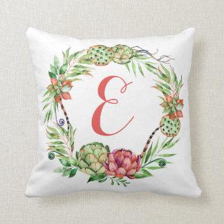 Cojín Decorativo Monograma floral del Succulent el | del boda del