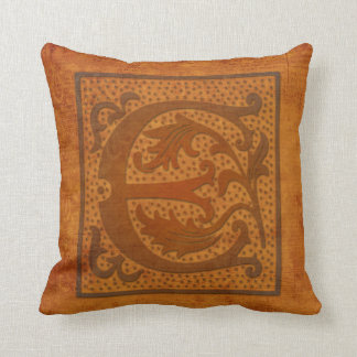 Cojín Decorativo ¡Monograma magnífico de E/almohada vieja de la