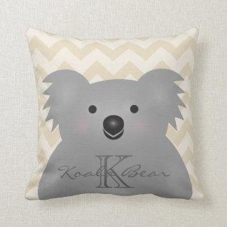 Cojín Decorativo Monograma mimoso lindo del oso de koala del bebé
