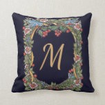 Cojín Decorativo Monograma victoriano Navidades azul oscuro