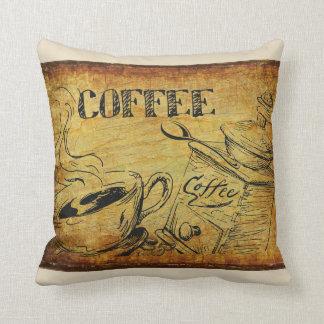 Cojín Decorativo Muestra del vintage del tiempo del café