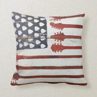 Cojín Decorativo Música patriótica de la guitarra de la bandera