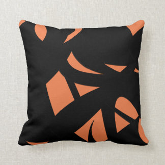 Cojín Decorativo Naranja/negro del arte contemporáneo
