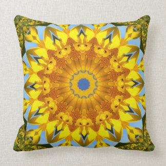 Cojín Decorativo Naturaleza del girasol, Flor-Mandala