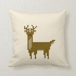 Cojín Decorativo Navidad del reno de Rudolf del pixel del friki