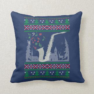 Cojín Decorativo Navidad del saxofón