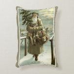 Cojín Decorativo Navidad del vintage, Victorian Papá Noel con los