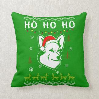 Cojín Decorativo Navidad feo del perro del Corgi Galés del Pembroke