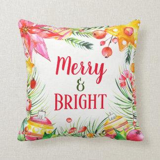 Cojín Decorativo Navidad festivo floral de la acuarela feliz y