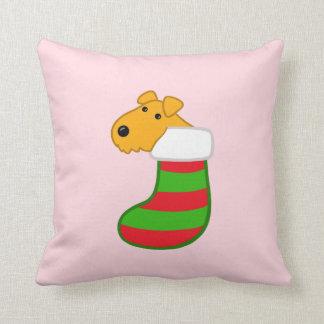 Cojín Decorativo Navidad lindo del perro de Kawaii Airedale que