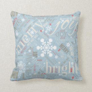 Cojín Decorativo Navidad texto y modelo ID257 azul del copo de