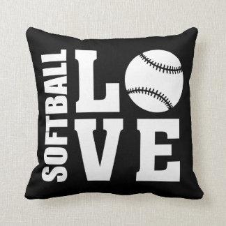 Cojín Decorativo Negro del amor del softball
