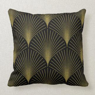 Cojín Decorativo Negro y modelo geométrico del art déco del oro