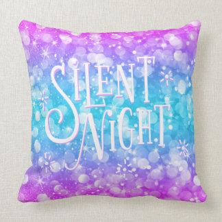 Cojín Decorativo Noche Tipografía-Silenciosa moderna del purpurina