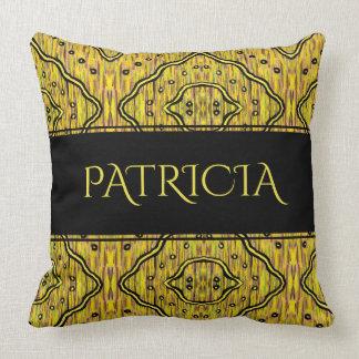 Cojín Decorativo Nombre amarillo y negro abstracto del